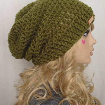 Crochet Ribbed Brim Slouchy Slouch Crochet Beanie Hipster Hat - TOFINO - APPLE MOSS