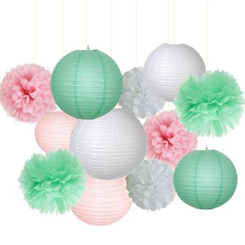 Mint Green, Gold , White Party Tissue Poms & Lantern Delux Set-DIY Boys Party Set, Paper Lantern| Green Baby Shower |Mint Birthday Theme