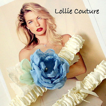Something Blue garters - Couture Allure - wedding garter set