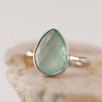 Sea Foam Green Ring - Aqua Blue Chalcedony Stacking Ring - Gemstone Ring - Silver Rings - Stackable Ring