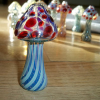 Glass Pipe, MUSHROOM PIPE, Hitter, Red with Blue Caramel Hand Blown Glass Mushroom Color Changing Glass Pipe