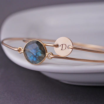 Personalized Bracelet Gold Labradorite Bracelet by georgiedesigns