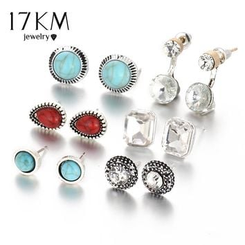 17KM 6pairs/ set Crystal Earrings For Women Blue And Red Stone Beads Vintage Punk Water Droplets Ears Clips Free Shipping