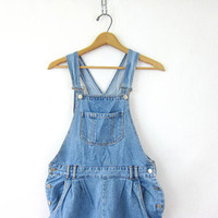 20% OFF SALE Vintage light wash blue Jean Bib Overalls Shorts // shorteralls jumper // size Large