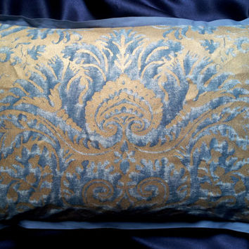 Fortuny Demedici in Blue & Silvery Gold Texture Lumbar Throw Flanged Pillow Cushion Cover - Made in Italy