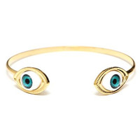 Blue Eyes Bracelet Arm Cuff Gold Tone Occult Eyeball Gothic Punk Bangle BC39 Fashion Jewelry