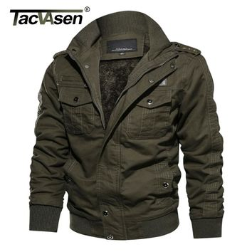 TACVASEN Thermal Military Jacket Men Winter Casual Jacket Coat Thick Army Pilot Jackets Air Force Cargo Jaqueta Fleece Lining