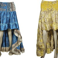 Mogul Interior Womens Hi Low Yellow,Blue Skirt Silky Bohemian Skirt Boho Skirt Full Flare Summer Dress Lot of 2