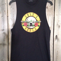 Guns and Roses // band shirt // cut // raw edge//concert tank top// small