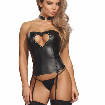 Faux-leather corset with matching G-string
