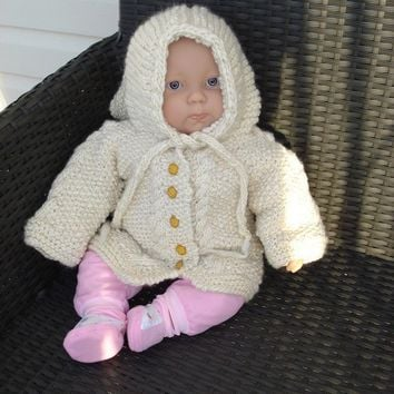 Made to order/ Softest merino aran cardigan with the cutest Hooded Jacket with six Buttons on front-SIZE newborn to 1 year old