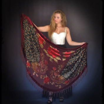 beaded silk shawl / huge burgundy cape with peacocks and tassels in Stevie Nicks style / hippie gypsy boho wrap