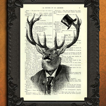 Hipster Deer moustache top hat stag head Dictionary Art
