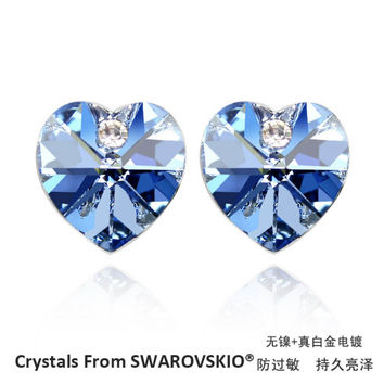 Hot sale classic heart stud earrings with 100% genuine crystal from swarovski good for Christmas Gift