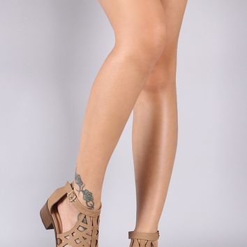 Nubuck Caged Open Toe Block Heel Sandal
