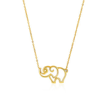 Cute Elephant Contour Pendant and Necklace in 14k Gold