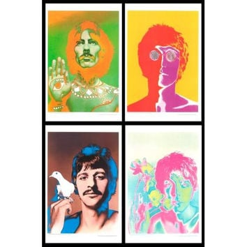 Set of 4 Beatles Psychedelic Portrait Posters 11x17