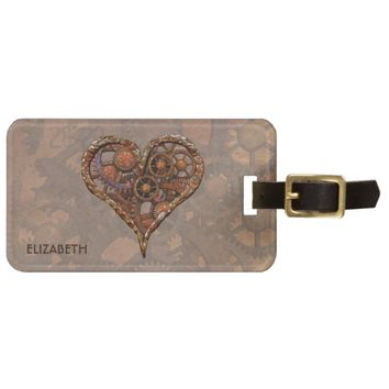 Steampunk Rusty Vintage Heart From Metal Gears Luggage Tag