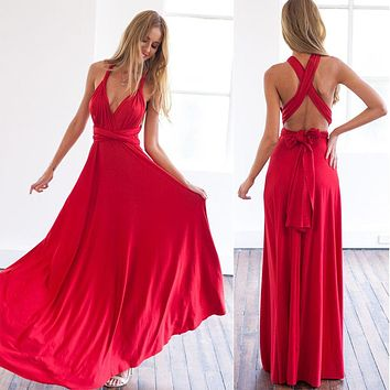 11 color 2017 summer sexy women maxi dress red bandage long dress sexy Multiway Bridesmaids Convertible Dress robe longue femme