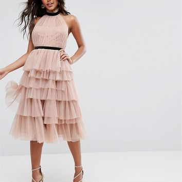 ASOS PREMIUM High Neck Tiered Tulle Midi Prom Dress at asos.com