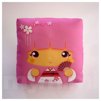 Girls Pillow, Geisha Pillow, Pink, Japanese Kokeshi Doll, Kawaii Print, Throw Pillow, Mini Pillow, Girls Room Decor, Dorm Decor, 7 x 7""
