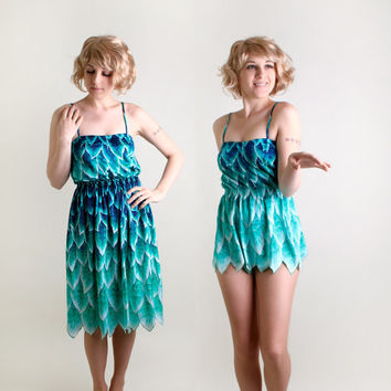 Vintage DeWeese Bathing Suit - Teal Ombre Petal Leaf Swimsuit and Skirt 2 Piece Romper - Medium