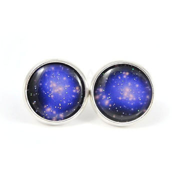 Galaxy Earrings - Black Purple Blue Earrings - Planet Earrings - Nebula Space Jewelry - Dark Blue - Free Worldwide Shipping