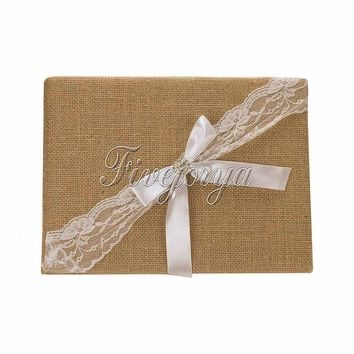 Wedding Guest Book 16cm x 25cm Handmade Natural Burlap
