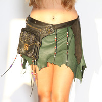 Khaleesi - Deer Skin Green and Black Leather Skirt - Deerskin Elven Elf Garment