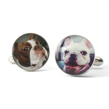Your Pets Custom Photo Cufflinks. Customizable for You and Made to Order