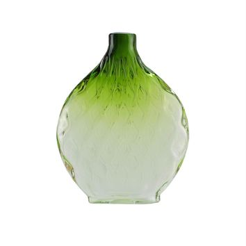 """11.5"""" Disc Shaped Transparent Forest Green Ombre Hand Blown Glass Vase"""