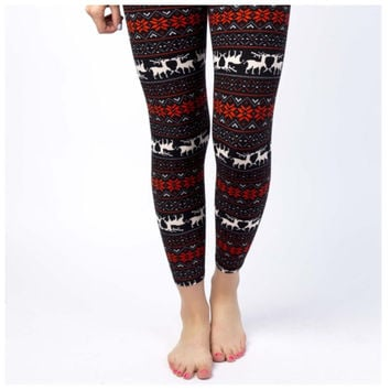 Reindeer Holiday Print Leggings