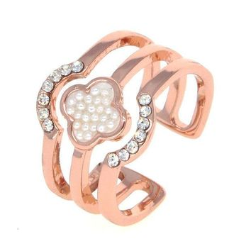 ICIKJ6E Dear Deer Rose Gold Plated Faux Pearl CZ Pave Floral Open End Wide Band Ring