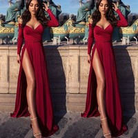 Evening Dress V Neck Simple Prom Dress Red Long Sleeves