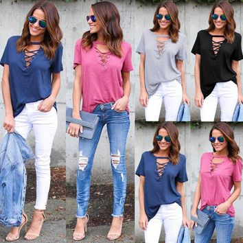 *online exclusive* lace up v neck t-shirt