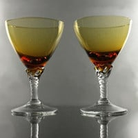 Italian Amber Cocktail Glasses Set of 2