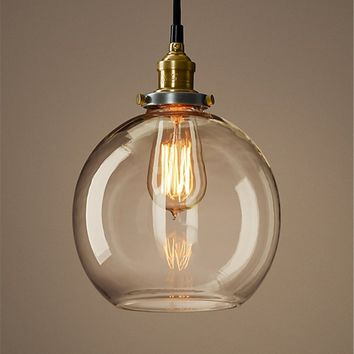 Factory Filament Clear Glass Cafe Pendant Lamp