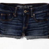 AEO Women's Rolled Denim Shortie (Medium Wash)