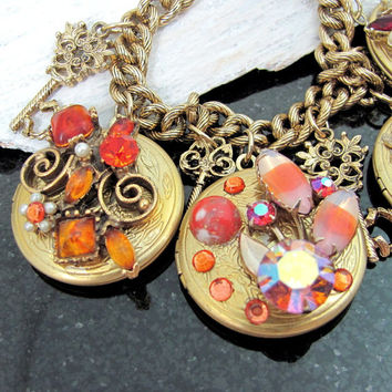 LOCKET & KEY CHARM Bracelet Rhinestone Enamel Vintage Pieces Assemblage Collage