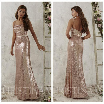 Rose Gold Sequins Bridesmaid Dresses 2017 Spaghetti Straps Backless Long Mermaid  Bridesmaid Dress Floor Length Vestidos