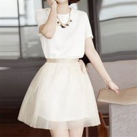 MP Short Sleeve Round Neck Dress with Tie Waist 050827 D0624