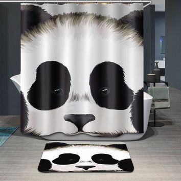 Collection: Panda Dog Bear Elephant Bathroom Unique Cool Cloth Fabric Long Shower Curtains
