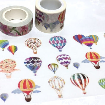 hot air ballooning washi tape 5M x 3cm colorful hot air balloon flying on sky Masking tape travel planner party decor sticker tape gift