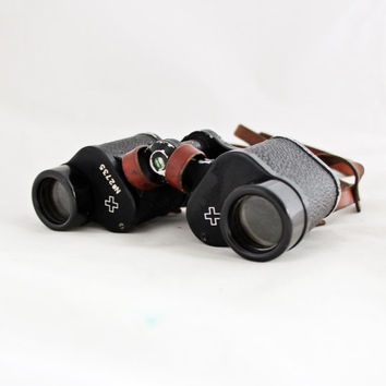 Original 1920s Swiss Army Binoculars 6x24 / Vintage Kern Field Glass Switzerland