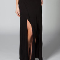 Full Tilt Double Front Slit Maxi Skirt Black  In Sizes