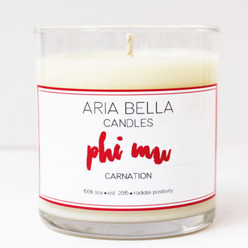 8 oz Soy Candle - Phi Mu - Carnation - The Sorority Collection