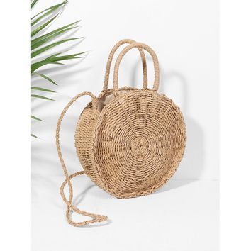 Round Straw Crossbody Bag Camel