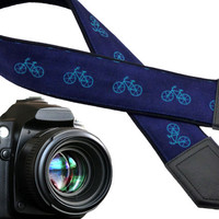 Bicycle camera strap. Teal bikes. Dark blue. Camera accessory. Camera gear. Gifts for men. Personalized gifts for him by InTePro