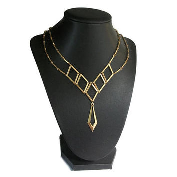 "1970s Sarah Coventry ""Goddess"" Necklace Gold Tone Openwork Geometric Y necklace Boho Harem Costume Jewelry Runway - 1977 Dangle Bib Necklace"
