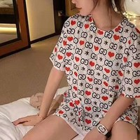 """Gucci"" Fashion GG Letter Couple Chinese Valentine's Day Qualified Logo Short  Sleeve Heart Loose Large Size Casual Women Tops"
